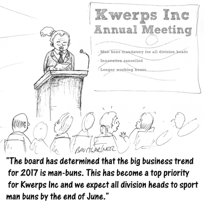 Cartoon: CEO announces man-buns are mandatory for division heads