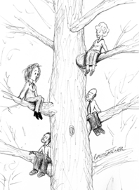 Cartoon: meeting in a tree