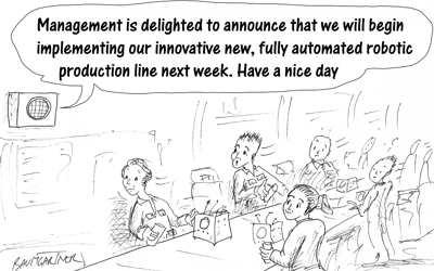 Cartoon: workers on production line shocked by announcement they will be replaced by robots