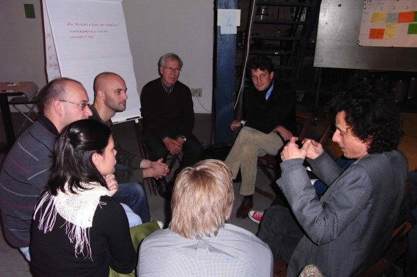 Explaining concept at workshop