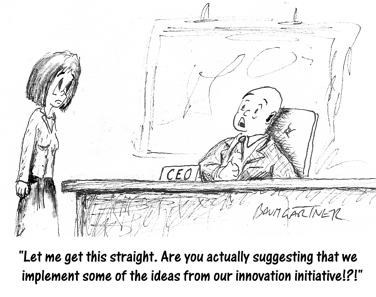 Cartoon: boss appalled by suggestion to implement ideas