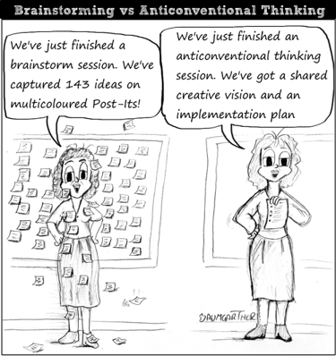 Cartoon comparing results in brainstorm and antionconventional thinking action