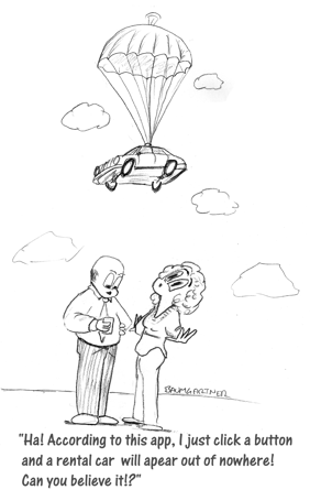 Cartoon: rental car parachuting in
