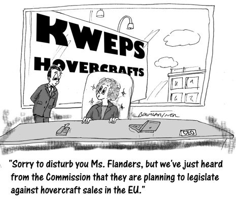 Cartoon: CEO learns her hovercrafts will be made illegal