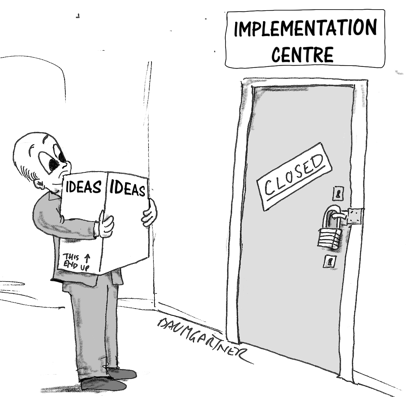 Cartoon: man carrying ideas sees that door to Innovation Centre is closed.
