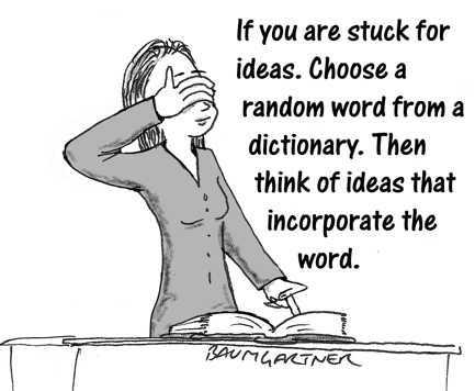 Cartoon: if you are stuck for ideas, choose a random word from a book...