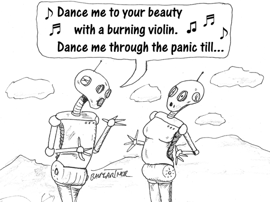Cartoon: robot singing love song