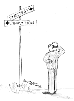Cartoon: sign with conflicting directions for innovation and strategy