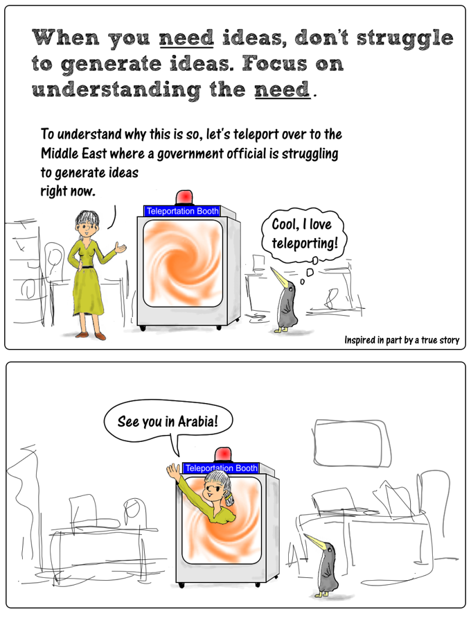 Cartoon: when you need ideas part one: don't struggle to generate ideas. Focus on understanding