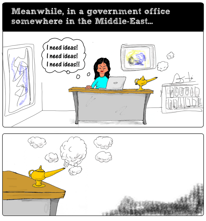 cartoon story: understand the situation part two: somewhere in the Middle East, a government worker is struggling for ideas