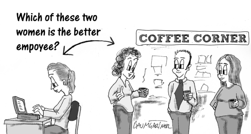 Cartoon: two woman at work; who is the better employee