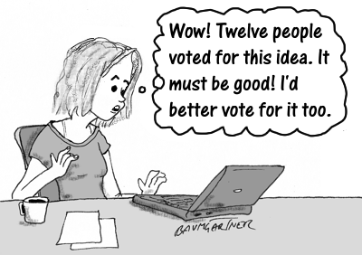 Cartoon: woman votes for idea because it is popular