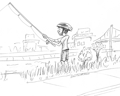Cartoon: young man fishing