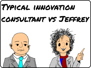 cartoon linking to comparision between innovation consultant and Jeffrey Baumgartner